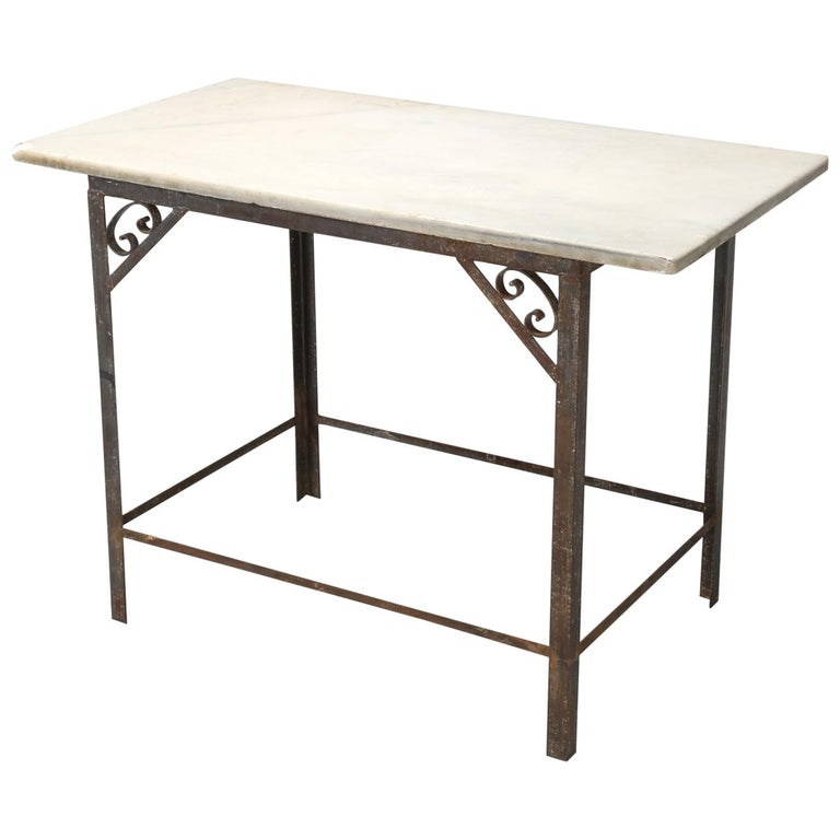 Antique French Work Table Or Kitchen Island And Original Marble Top For