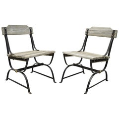 Antique French Industrial Wrought Iron Wooden Slat Seat Side Chairs, a Pair
