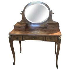 Antique French Inlaid and Burled Walnut Dressing Table Vanity