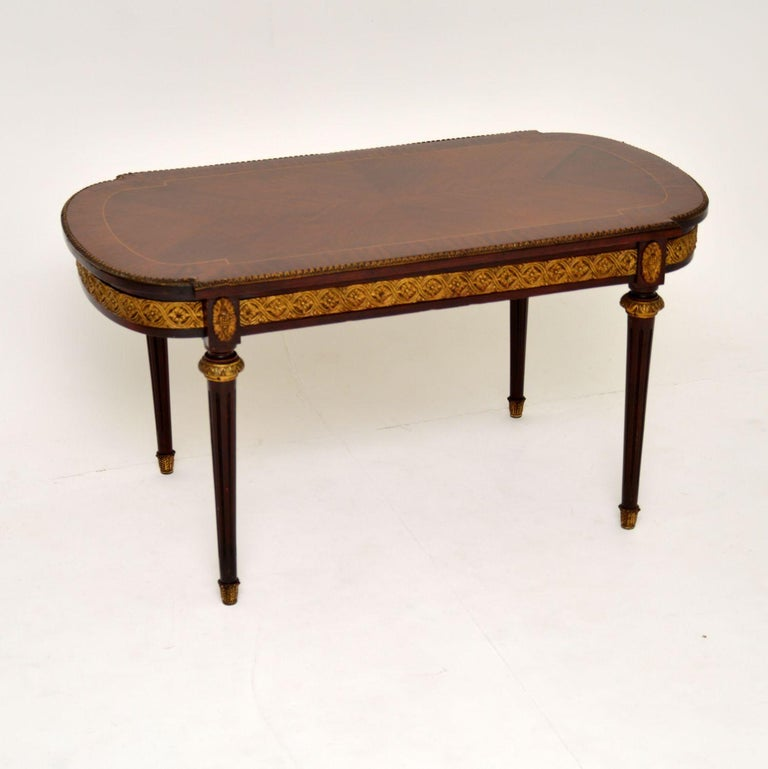 Antique French Inlaid King Wood Coffee Table 5
