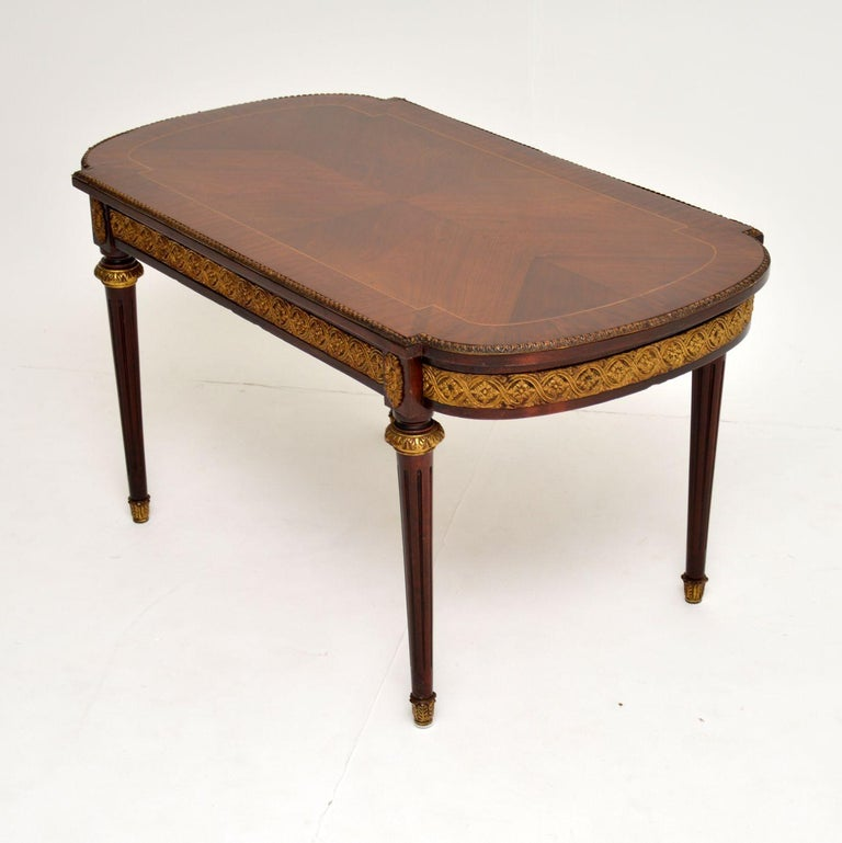 Louis XV Antique French Inlaid King Wood Coffee Table