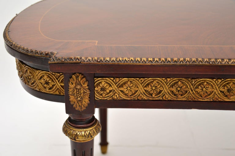 Antique French Inlaid King Wood Coffee Table 2