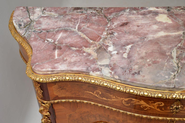 Antique French Inlaid Marble Top Cabinet 6