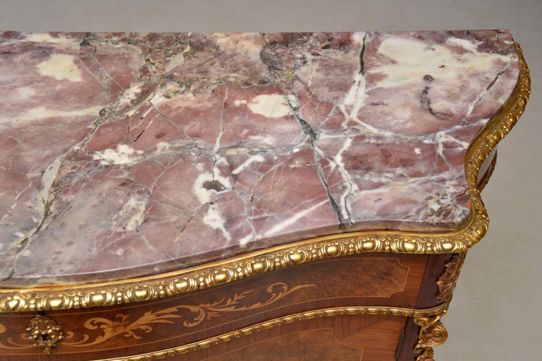 Antique French Inlaid Marble Top Cabinet 7