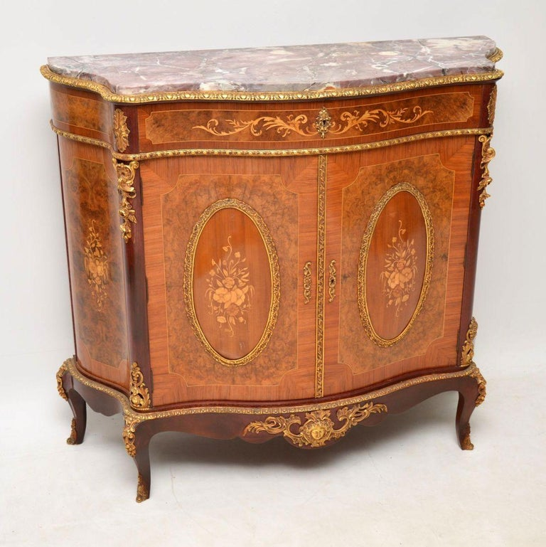 Antique French Inlaid Marble Top Cabinet 8