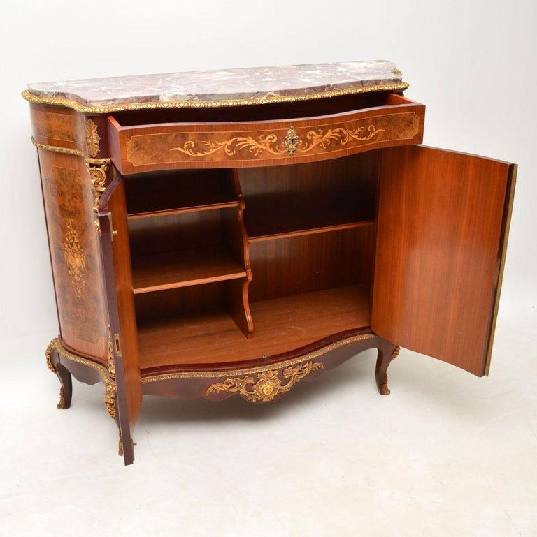 Louis XIV Antique French Inlaid Marble Top Cabinet