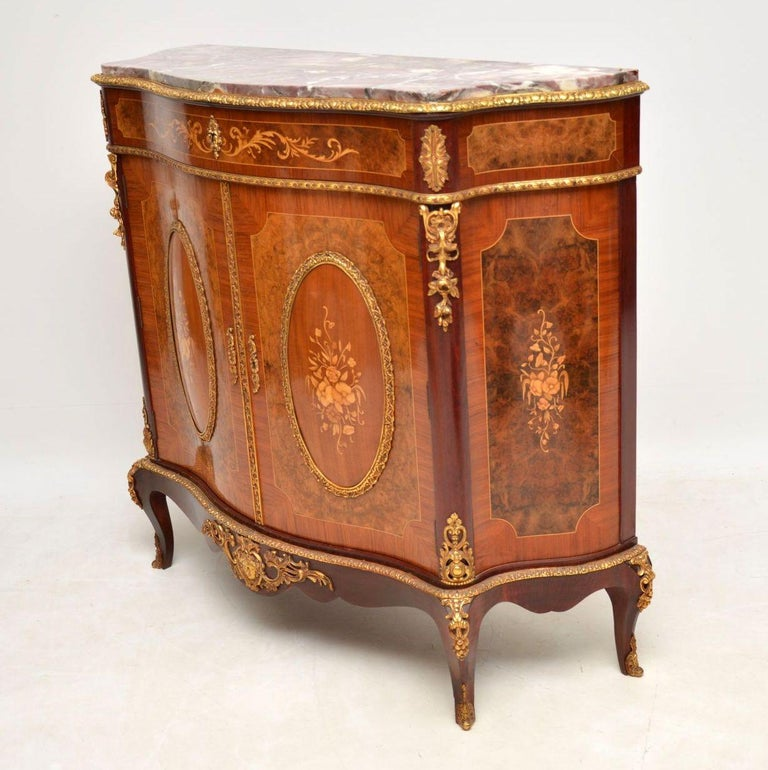 Antique French Inlaid Marble Top Cabinet In Good Condition In London, GB