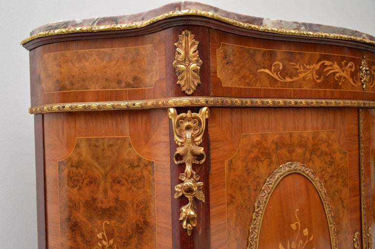 Mid-20th Century Antique French Inlaid Marble Top Cabinet