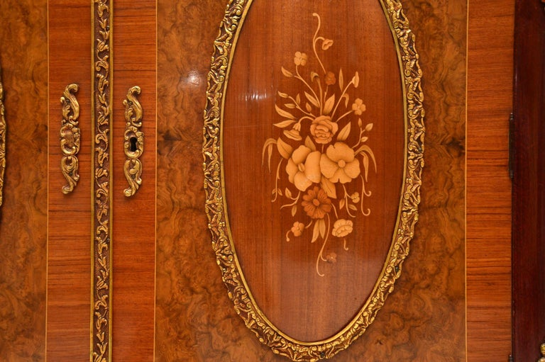 Antique French Inlaid Marble Top Cabinet 4