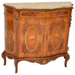 Antique French Inlaid Marble-Top Cabinet