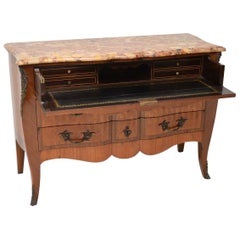 Antique French Inlaid Marble-Top Secretaire Commode