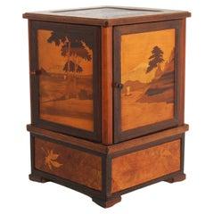 Antique French Inlaid Marquetry Cigar Box 1900 Cigarette Cabinet Desk Decoration