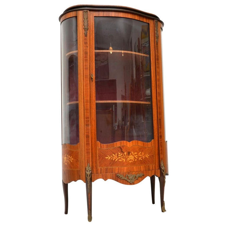 Display Kitchen Cabinets For Sale: Antique French Inlaid Marquetry Display Cabinet For Sale