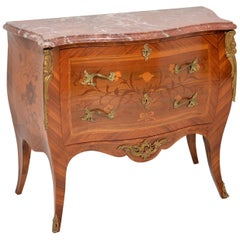 Antique French Inlaid Marquetry Marble-Top Bombe Chest