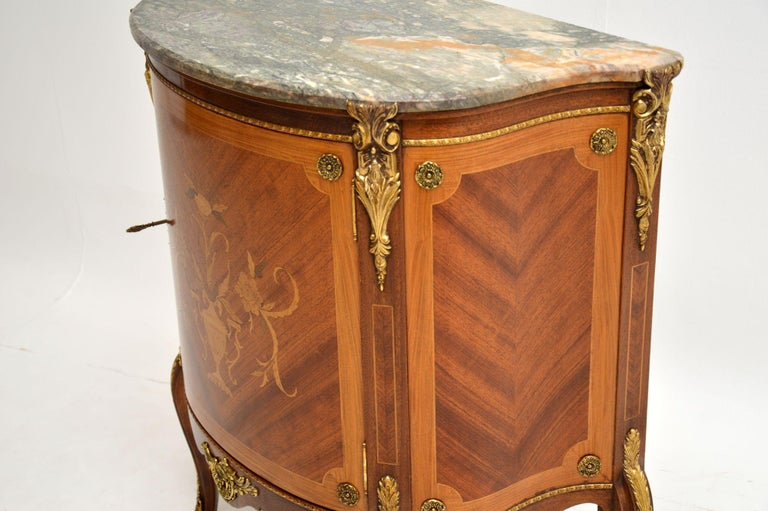 Antique French Inlaid Marquetry Marble Top Cabinet 5