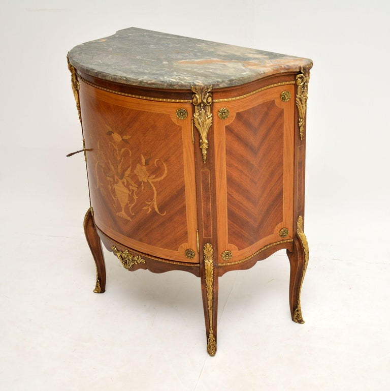 Louis XV Antique French Inlaid Marquetry Marble Top Cabinet