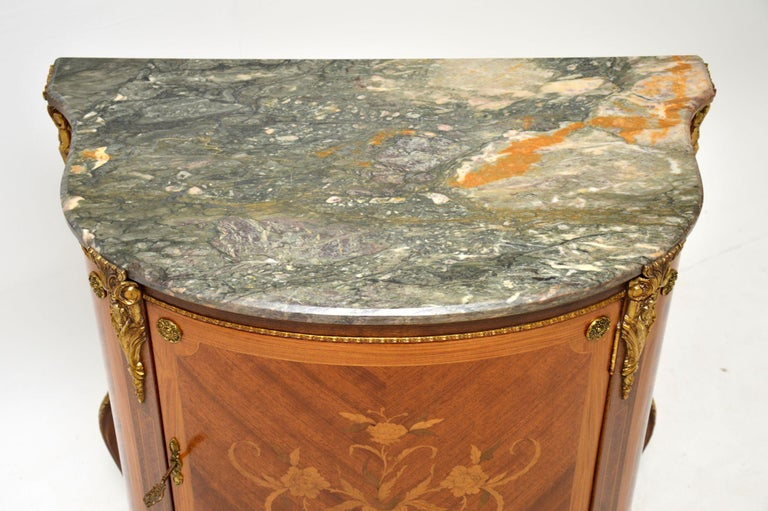 Antique French Inlaid Marquetry Marble Top Cabinet In Good Condition In London, GB
