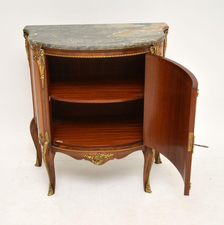 20th Century Antique French Inlaid Marquetry Marble Top Cabinet