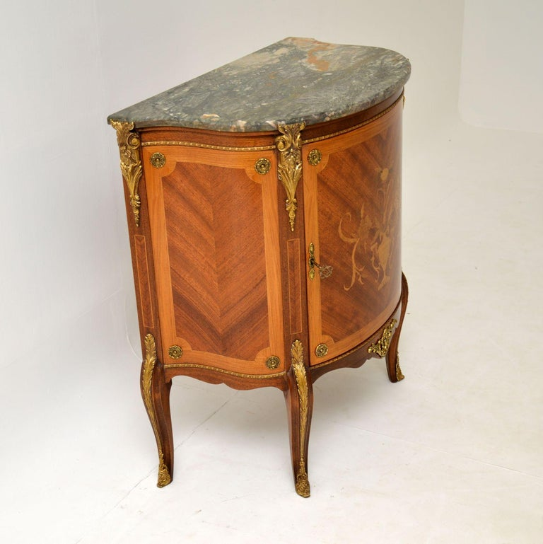 Antique French Inlaid Marquetry Marble Top Cabinet 1