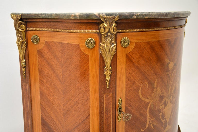 Antique French Inlaid Marquetry Marble Top Cabinet 2