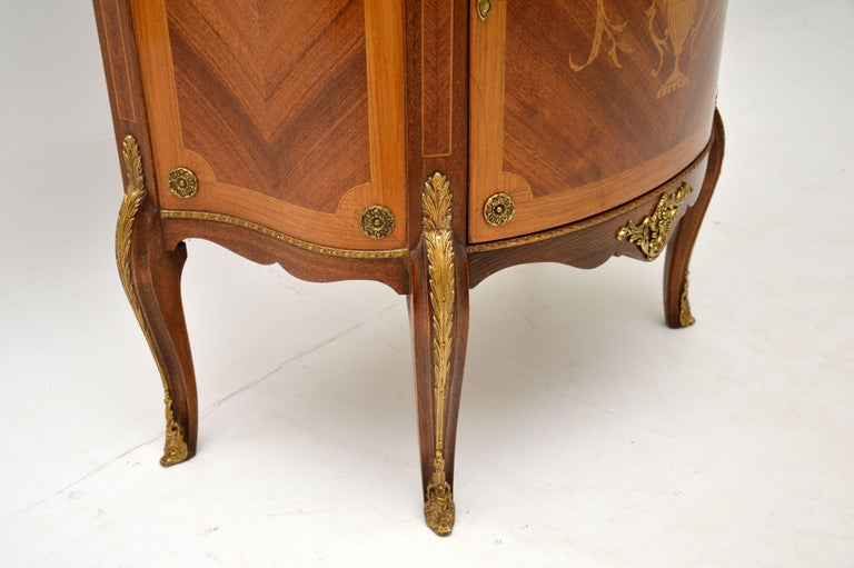 Antique French Inlaid Marquetry Marble Top Cabinet 3