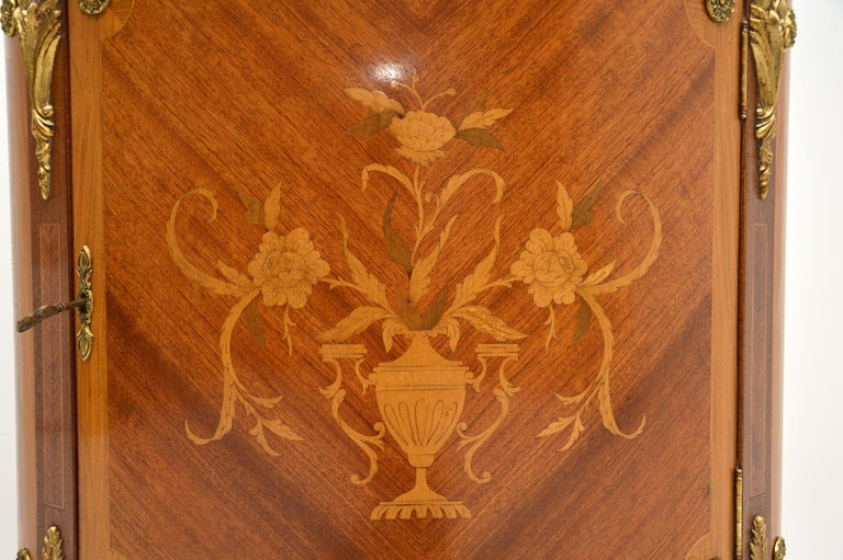 Antique French Inlaid Marquetry Marble Top Cabinet 4