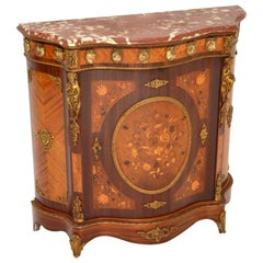 Antique French Inlaid Marquetry Marble-Top Cabinet