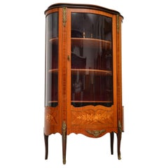 Antique French Inlaid Rosewood Display Cabinet