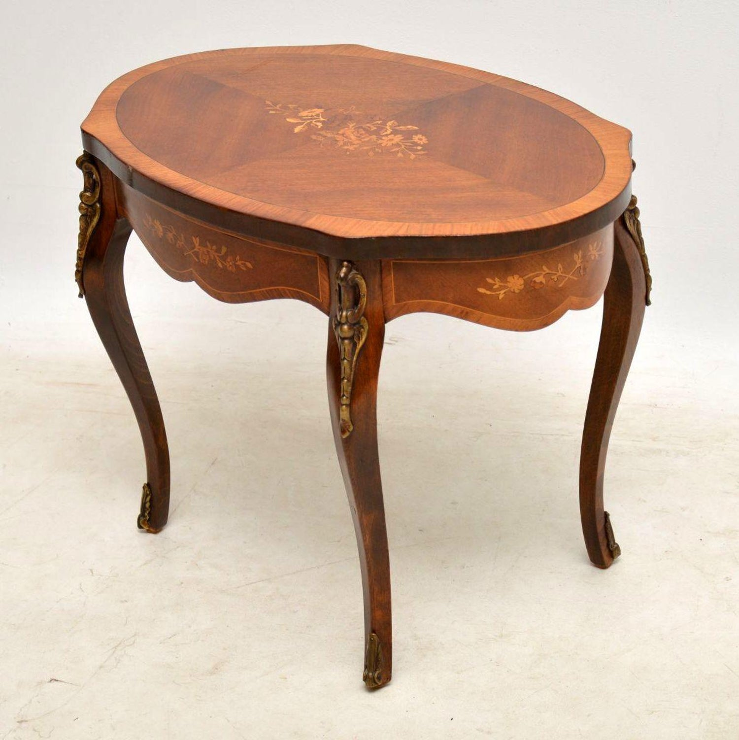 Antique Coffee Table.Antique French Inlaid Walnut Coffee Table With Marquetry