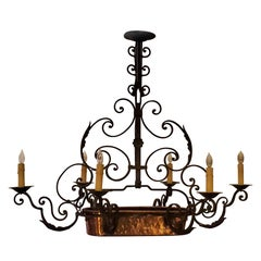 Antique French Iron and Copper Chandelier, circa 1910