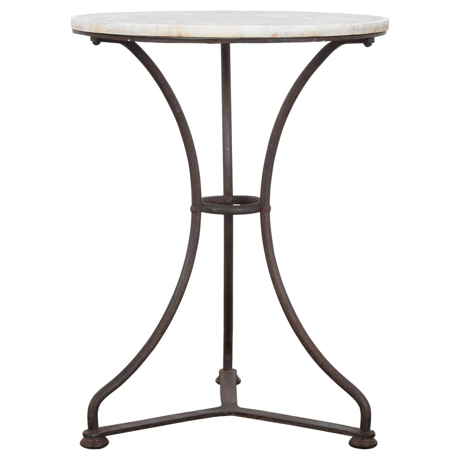 Antique French Iron and Marble Side Table