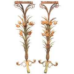 Antique French Iron and Tole Plant Stands, circa 1920s-1930s