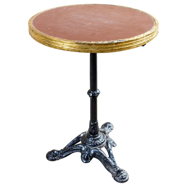 Antique French Iron and Wood Bistro Table For Sale