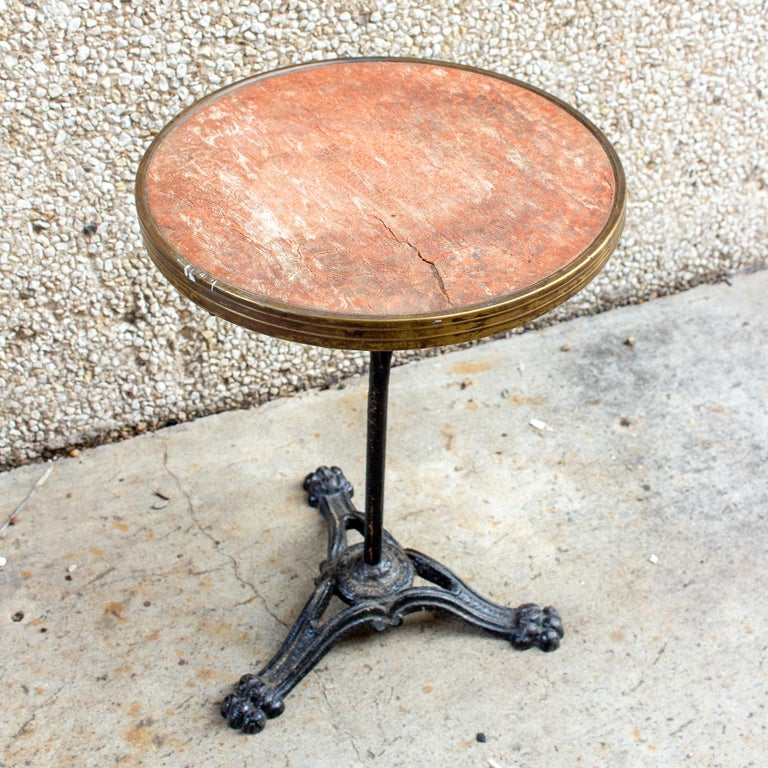 Antique French Iron Bistro Table with Distressed Leather Top For Sale 6