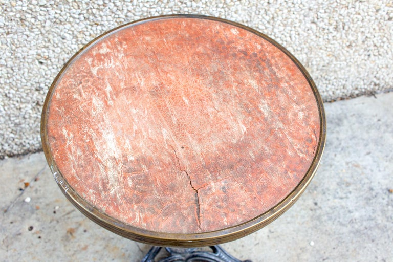 Antique French Iron Bistro Table with Distressed Leather Top For Sale 7