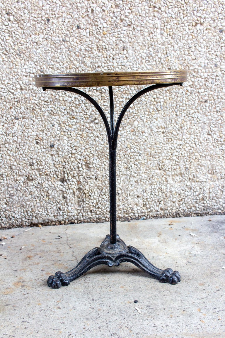 Antique French Iron Bistro Table with Distressed Leather Top For Sale 5