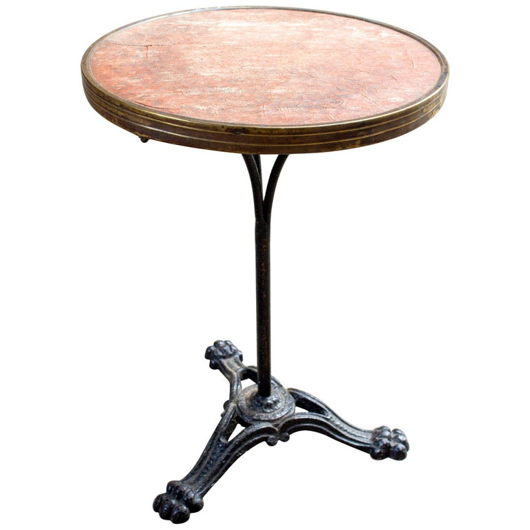 Antique French Iron Bistro Table with Distressed Leather Top For Sale