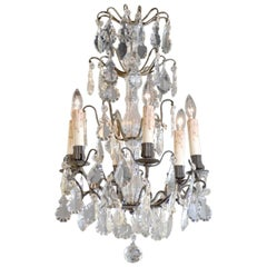 Antique French Iron & Crystal Chandelier