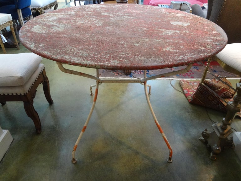 Early 20th Century Antique French Iron Folding Garden Table with Original Paint For Sale