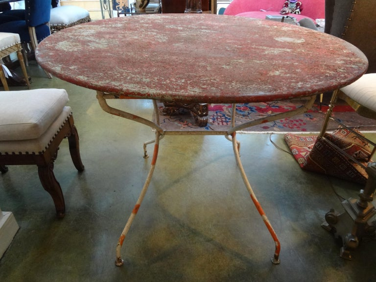 Antique French Iron Folding Garden Table with Original Paint For Sale 1