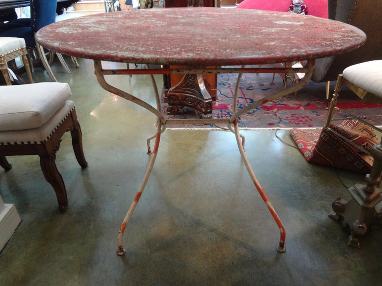 Antique French Iron Folding Garden Table with Original Paint For Sale 2