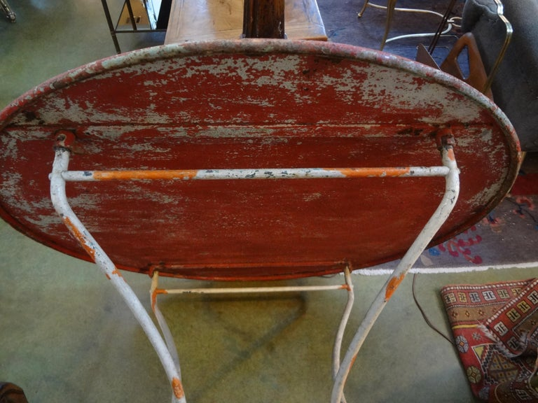 Antique French Iron Folding Garden Table with Original Paint For Sale 4