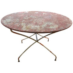 Antique French Iron Folding Garden Table with Original Paint