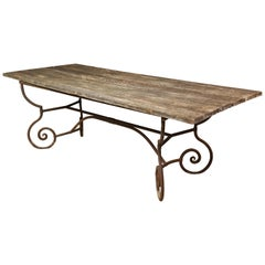 Antique French Iron Garden Table with Distressed Wood Top