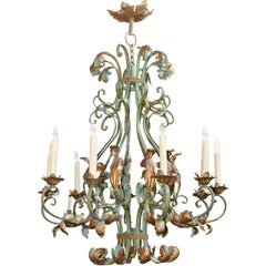 Antique French Iron Ten-Light Chandelier