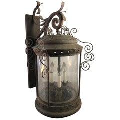 Antique French Iron Wall Lantern