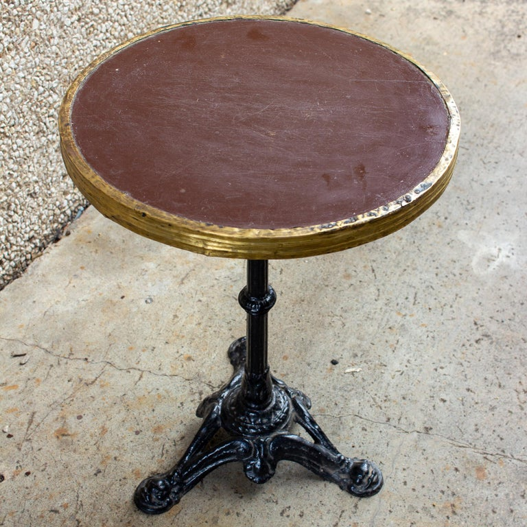 Antique French Iron and Wood Bistro Table For Sale 7