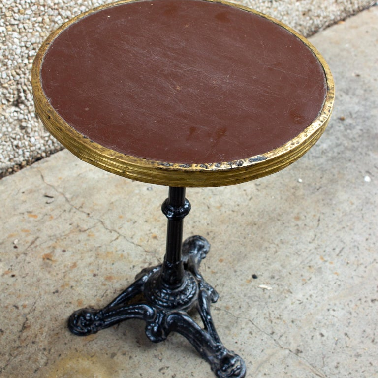 Antique French Iron and Wood Bistro Table For Sale 9