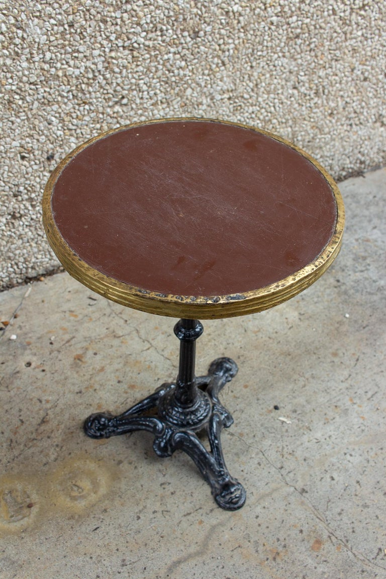 Antique French Iron and Wood Bistro Table For Sale 2