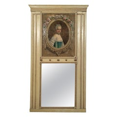 Antique French Ivory Colored and Parcel Gilt Trumeau